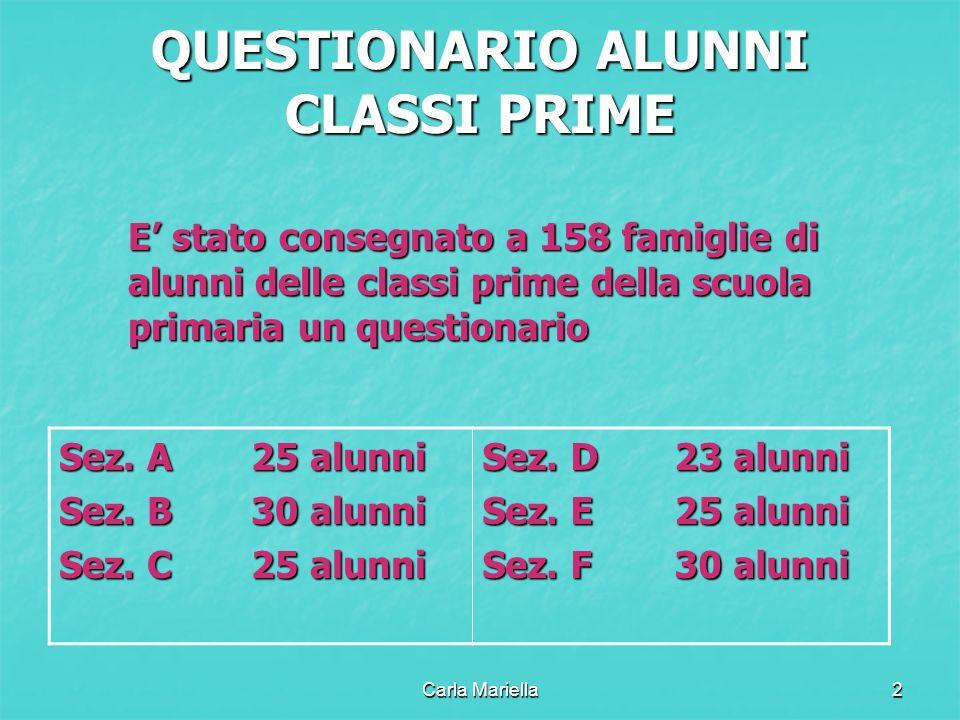 Carla Mariella2 QUESTIONARIO ALUNNI CLASSI PRIME E stato consegnato a 158 famiglie di alunni delle classi prime della scuola primaria un questionario Sez.