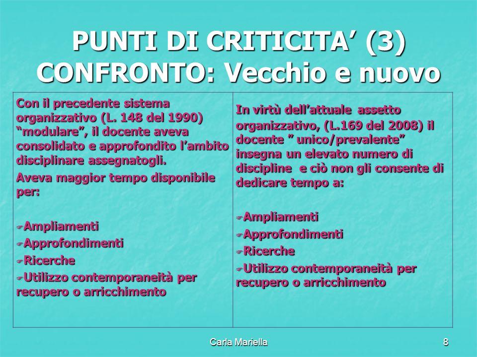 Carla Mariella8 PUNTI DI CRITICITA (3) CONFRONTO: Vecchio e nuovo Con il precedente sistema organizzativo (L. 148 del 1990) modulare, il docente aveva
