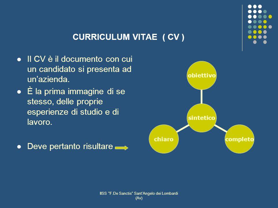 IISS F.De Sanctis Sant Angelo dei Lombardi (Av) CURRICULUM VITAE ( CV ) Il CV è il documento con cui un candidato si presenta ad unazienda.