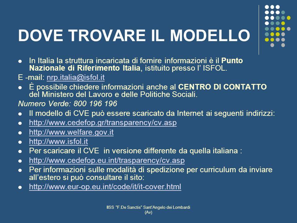 IISS F.De Sanctis Sant Angelo dei Lombardi (Av) DOVE TROVARE IL MODELLO In Italia la struttura incaricata di fornire informazioni è il Punto Nazionale di Riferimento Italia, istituito presso l ISFOL.