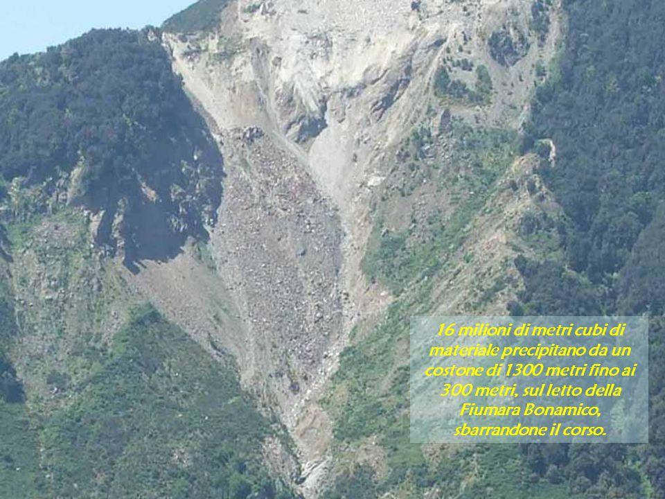 16 milioni di metri cubi di materiale precipitano da un costone di 1300 metri fino ai 300 metri, sul letto della Fiumara Bonamico, sbarrandone il cors