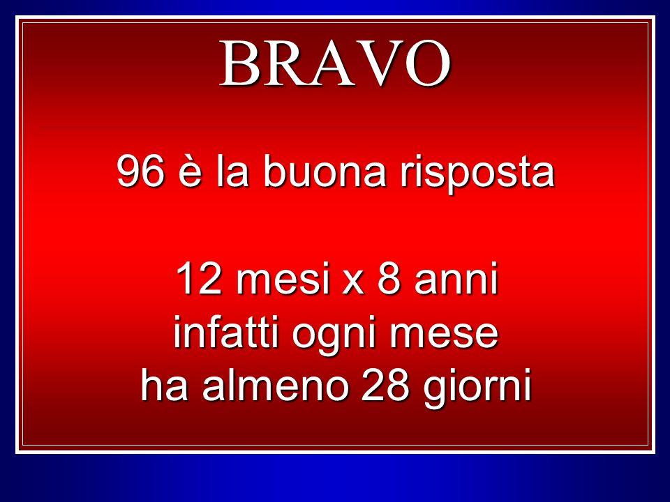 BRAVO 96 è la buona risposta 12 mesi x 8 anni infatti ogni mese ha almeno 28 giorni