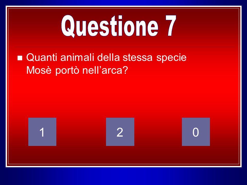 Quanti animali della stessa specie Mosè portò nellarca? 120