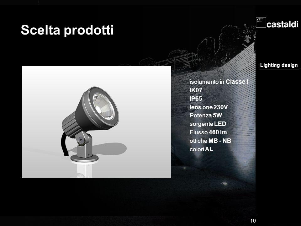 Lighting design 10 Scelta prodotti isolamento in Classe I IK07 IP65 tensione 230V Potenza 5W sorgente LED Flusso 460 lm ottiche MB - NB colori AL