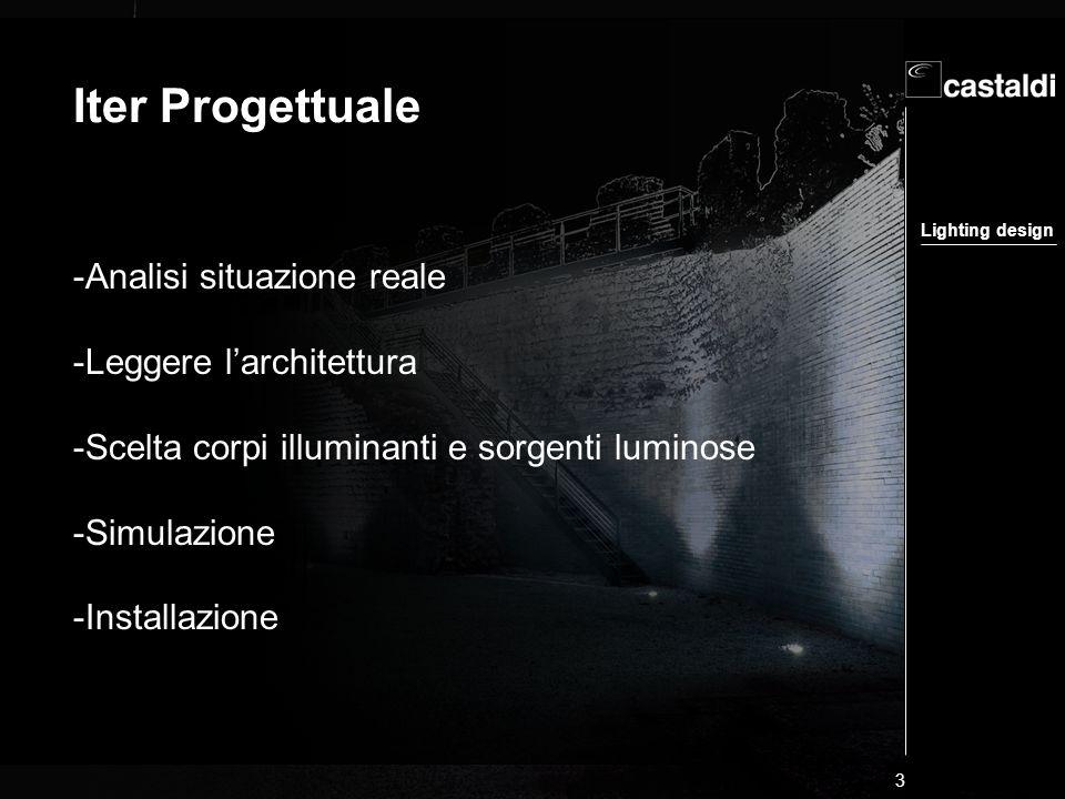 Lighting design 3 Iter Progettuale -Analisi situazione reale -Leggere larchitettura -Scelta corpi illuminanti e sorgenti luminose -Simulazione -Instal
