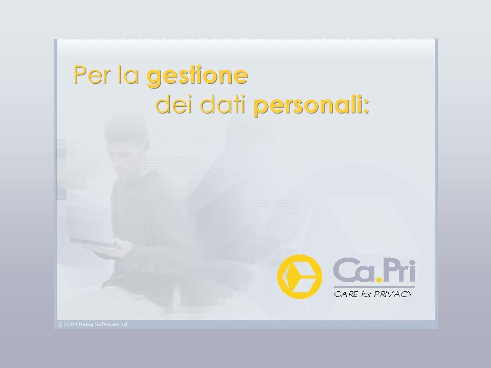 Per la gestione dei dati personali: Per la gestione dei dati personali: