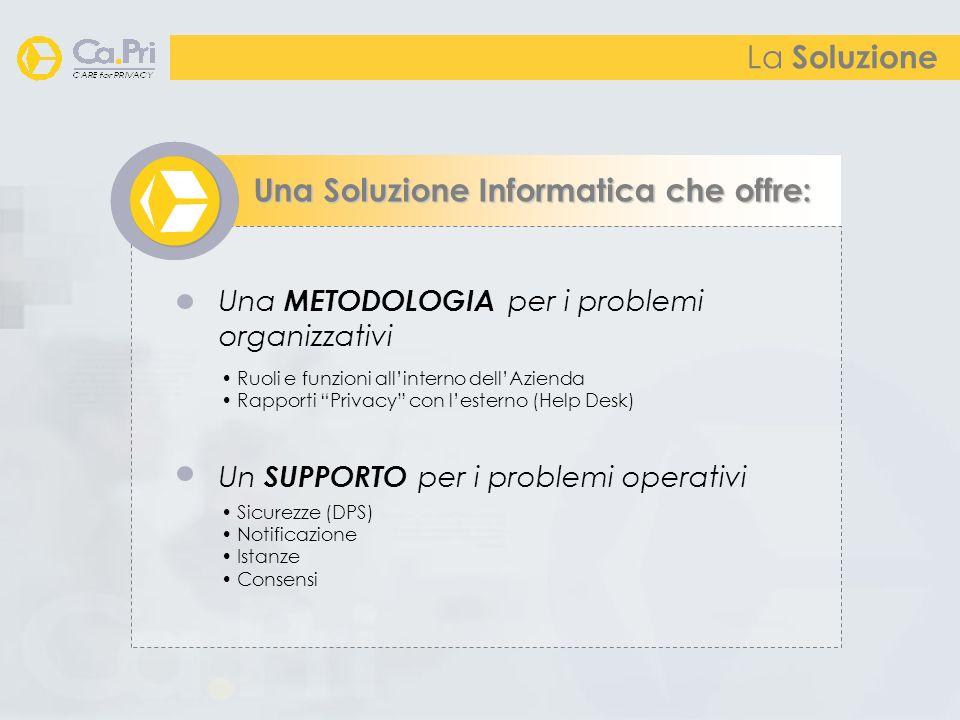La Soluzione Una Soluzione Informatica che offre: Una METODOLOGIA per i problemi organizzativi Un SUPPORTO per i problemi operativi Ruoli e funzioni allinterno dellAzienda Rapporti Privacy con lesterno (Help Desk) Sicurezze (DPS) Notificazione Istanze Consensi