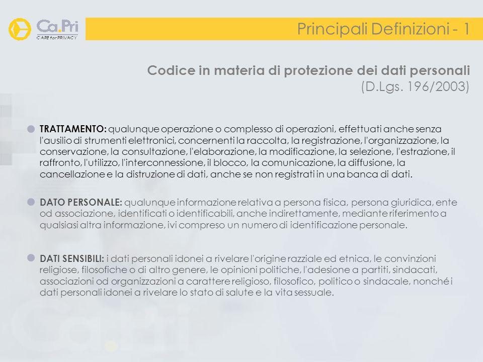 Codice in materia di protezione dei dati personali (D.Lgs. 196/2003) Principali Definizioni - 1 TRATTAMENTO: qualunque operazione o complesso di opera