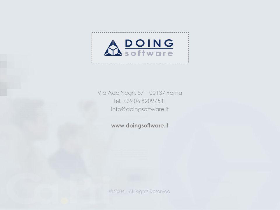 Via Ada Negri, 57 – 00137 Roma Tel. +39 06 82097541 info@doingsoftware.it www.doingsoftware.it © 2004 - All Rights Reserved