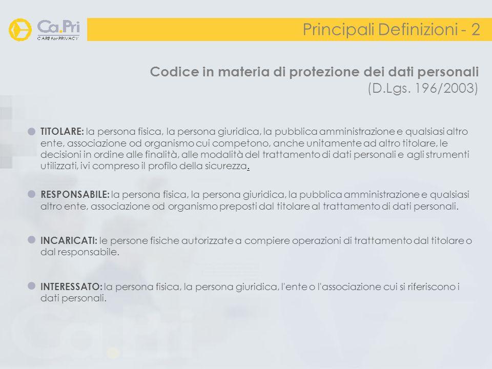 Codice in materia di protezione dei dati personali (D.Lgs. 196/2003) Principali Definizioni - 2 TITOLARE: la persona fisica, la persona giuridica, la