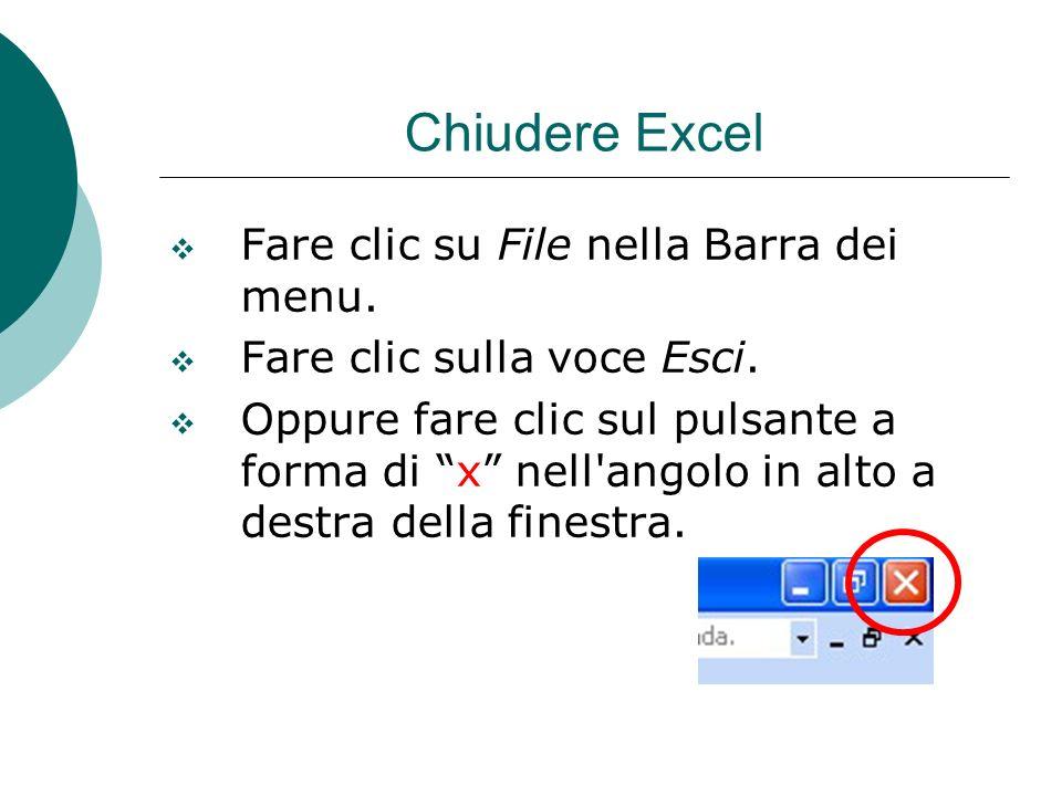 Chiudere Excel Fare clic su File nella Barra dei menu. Fare clic sulla voce Esci. Oppure fare clic sul pulsante a forma di x nell'angolo in alto a des