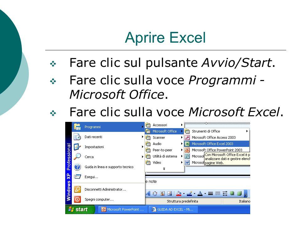 Aprire Excel Fare clic sul pulsante Avvio/Start. Fare clic sulla voce Programmi - Microsoft Office. Fare clic sulla voce Microsoft Excel.