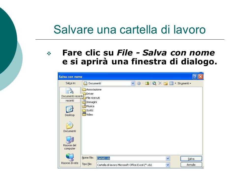 Salvare una cartella di lavoro Fare clic su File - Salva con nome e si aprirà una finestra di dialogo.