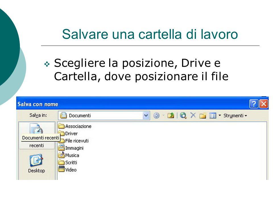 Salvare una cartella di lavoro Scegliere la posizione, Drive e Cartella, dove posizionare il file