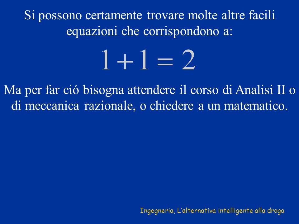 Si possono certamente trovare molte altre facili equazioni che corrispondono a: Ma per far ció bisogna attendere il corso di Analisi II o di meccanica razionale, o chiedere a un matematico.