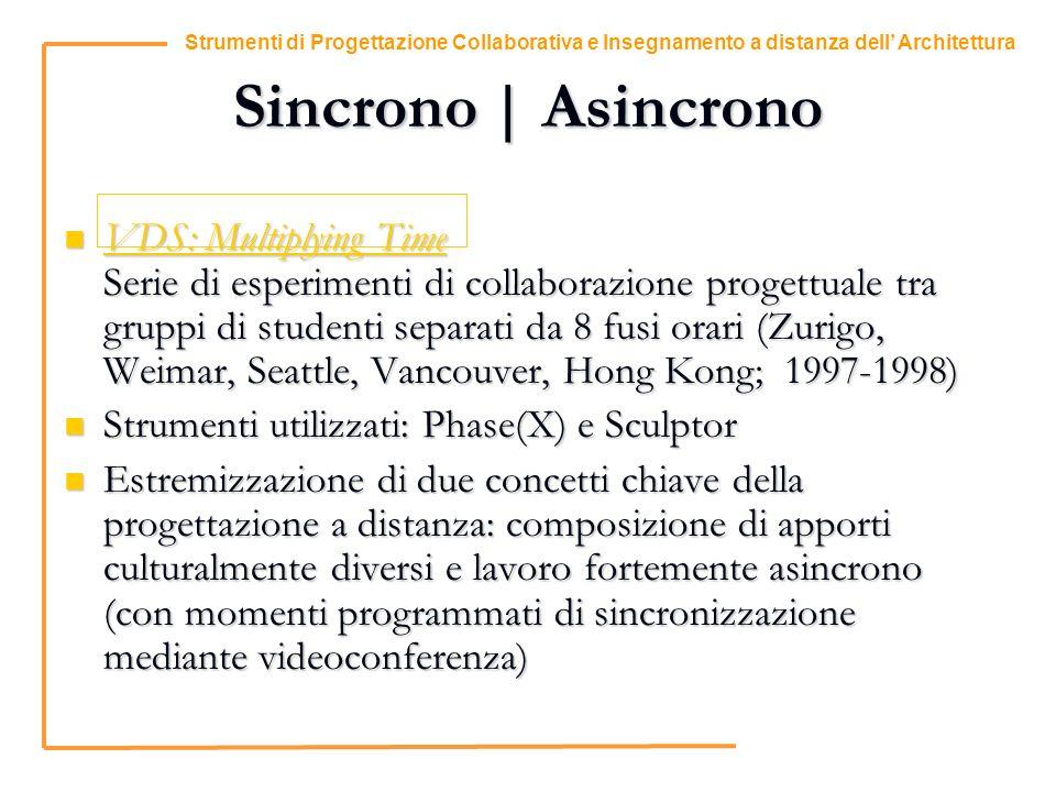 1 Strumenti di Progettazione Collaborativa e Insegnamento a distanza dell Architettura Sincrono | Asincrono VDS: Multiplying Time Serie di esperimenti di collaborazione progettuale tra gruppi di studenti separati da 8 fusi orari (Zurigo, Weimar, Seattle, Vancouver, Hong Kong; 1997-1998) VDS: Multiplying Time Serie di esperimenti di collaborazione progettuale tra gruppi di studenti separati da 8 fusi orari (Zurigo, Weimar, Seattle, Vancouver, Hong Kong; 1997-1998) VDS: Multiplying Time VDS: Multiplying Time Strumenti utilizzati: Phase(X) e Sculptor Strumenti utilizzati: Phase(X) e Sculptor Estremizzazione di due concetti chiave della progettazione a distanza: composizione di apporti culturalmente diversi e lavoro fortemente asincrono (con momenti programmati di sincronizzazione mediante videoconferenza) Estremizzazione di due concetti chiave della progettazione a distanza: composizione di apporti culturalmente diversi e lavoro fortemente asincrono (con momenti programmati di sincronizzazione mediante videoconferenza)