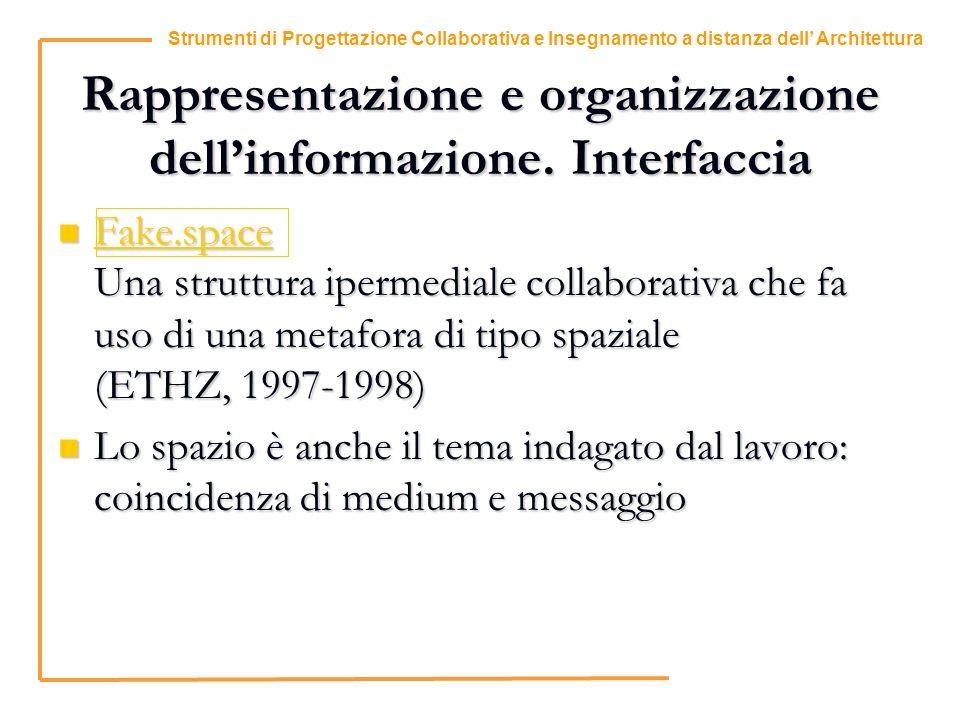 4 Strumenti di Progettazione Collaborativa e Insegnamento a distanza dell Architettura Rappresentazione e organizzazione dellinformazione.