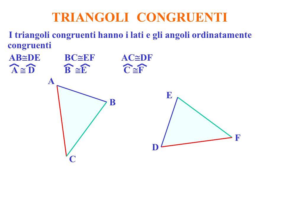 TRIANGOLI CONGRUENTI I triangoli congruenti hanno i lati e gli angoli ordinatamente congruenti AB DE BC EF AC DF A DB E C F A D B E C F
