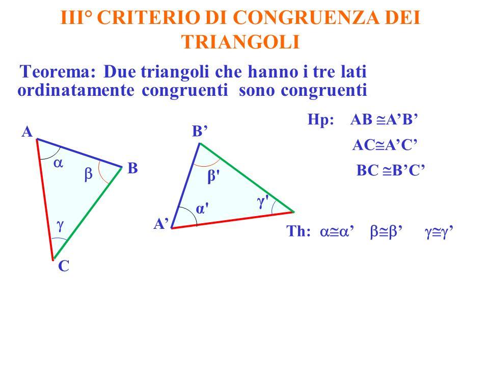 III° CRITERIO DI CONGRUENZA DEI TRIANGOLI Teorema: Due triangoli che hanno i tre lati ordinatamente congruenti sono congruenti Hp: AB AB AC AC BC BC Th: A B B A C α γ β β