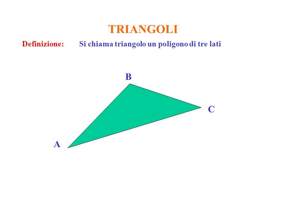 TRIANGOLI Definizione: Si chiama triangolo un poligono di tre lati C B A
