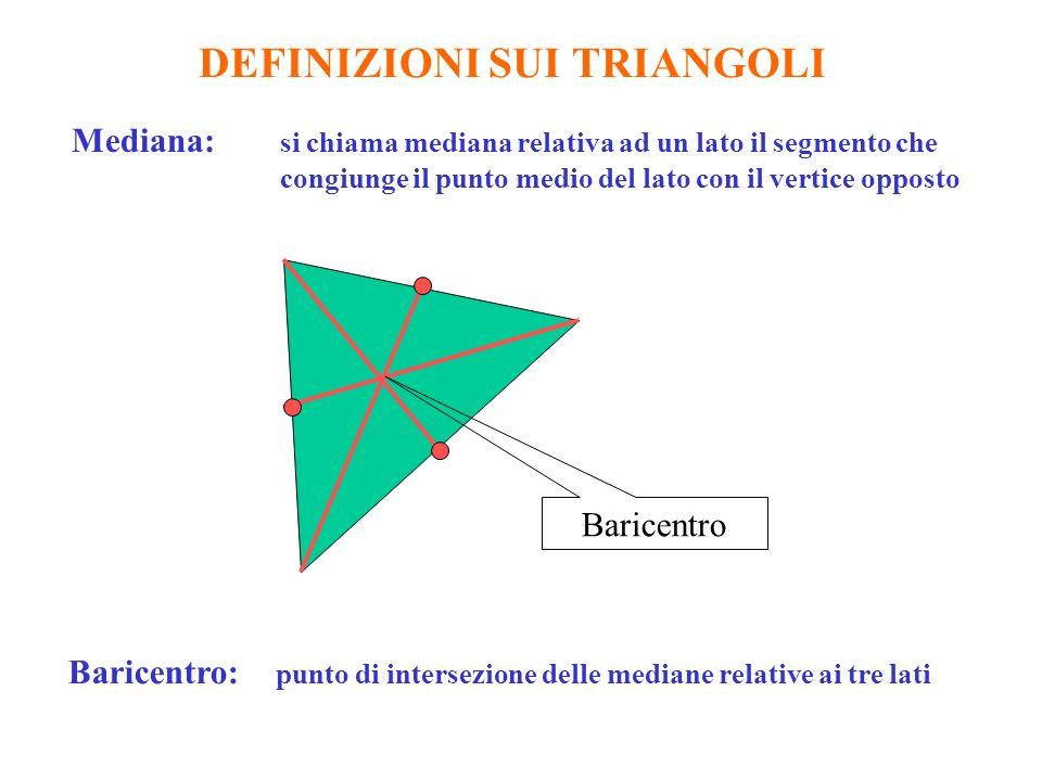 DEFINIZIONI SUI TRIANGOLI Mediana: si chiama mediana relativa ad un lato il segmento che congiunge il punto medio del lato con il vertice opposto Baricentro Baricentro: punto di intersezione delle mediane relative ai tre lati