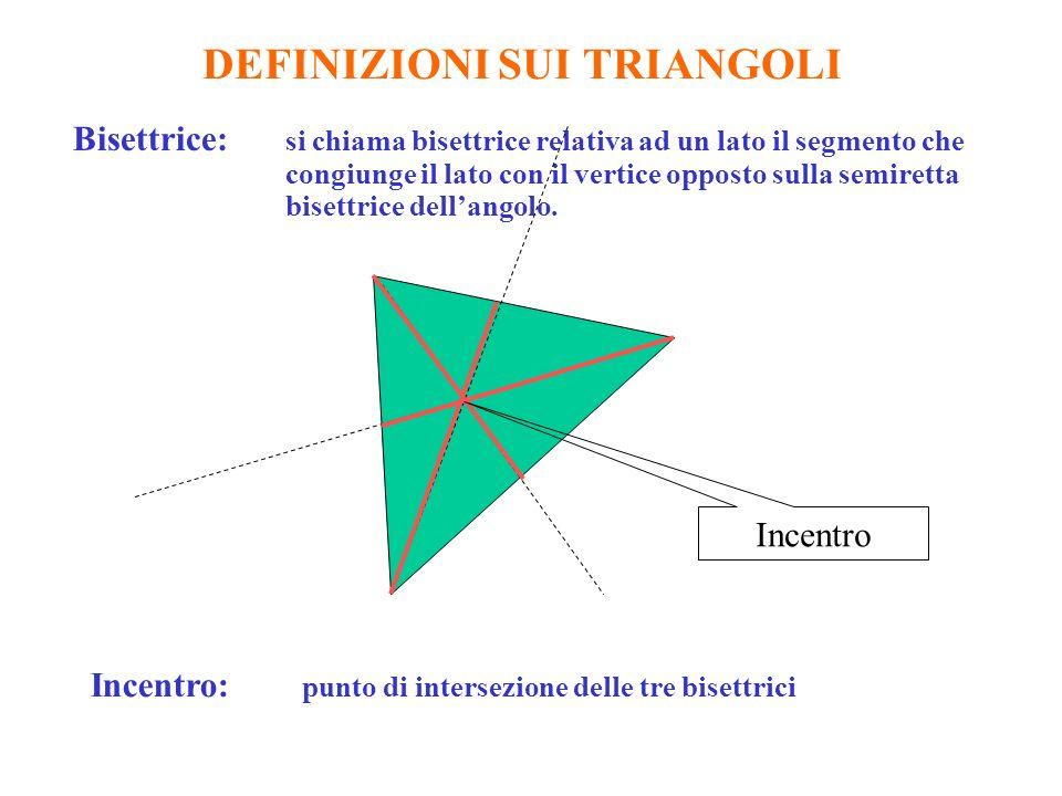 DEFINIZIONI SUI TRIANGOLI Bisettrice: si chiama bisettrice relativa ad un lato il segmento che congiunge il lato con il vertice opposto sulla semiretta bisettrice dellangolo.