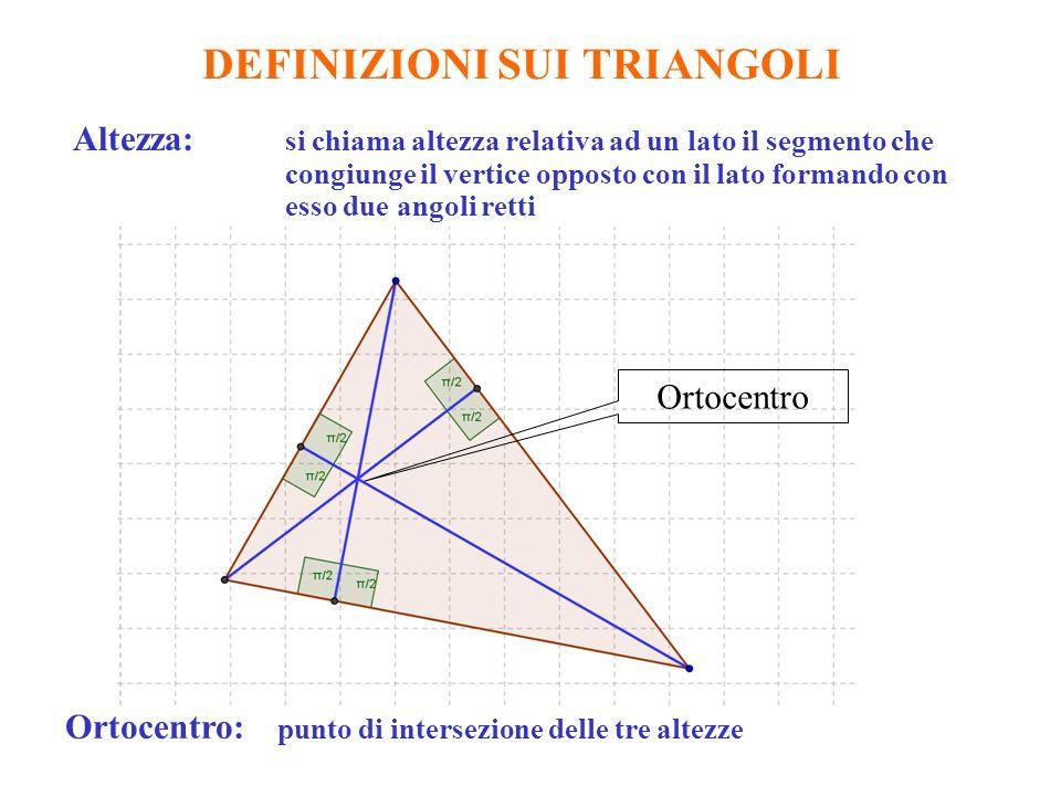 DEFINIZIONI SUI TRIANGOLI Altezza: si chiama altezza relativa ad un lato il segmento che congiunge il vertice opposto con il lato formando con esso due angoli retti Ortocentro: punto di intersezione delle tre altezze Ortocentro