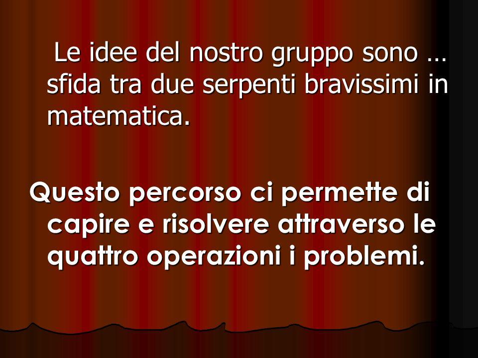 Le idee del nostro gruppo sono … sfida tra due serpenti bravissimi in matematica. Le idee del nostro gruppo sono … sfida tra due serpenti bravissimi i