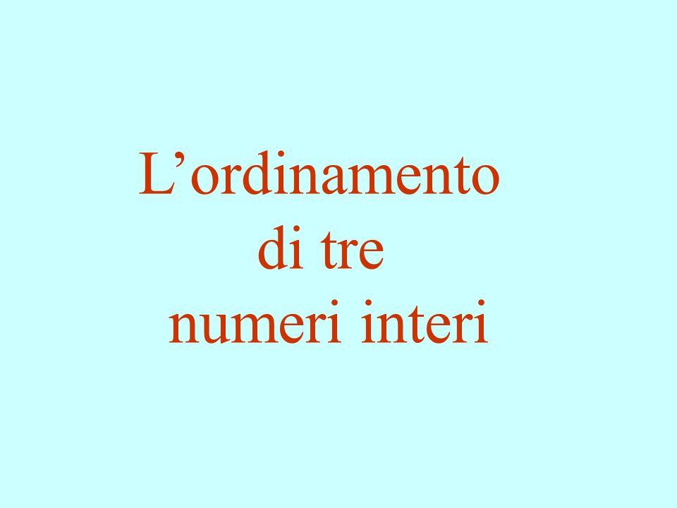Lordinamento di tre numeri interi