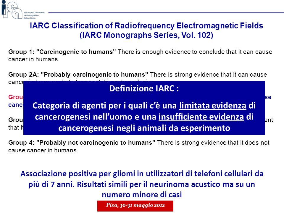 20h di esposizione a RF (1950 MHz, modulazione UMTS) nessun effetto della sola RF; induzione di AR – protezione da un successivo trattamento con MMC; effetto dipendente dal SAR; effetto simile a quello osservato in linfociti esposti a 900 MHz (GSM) Pisa, 30-31 maggio 2012 III° studio