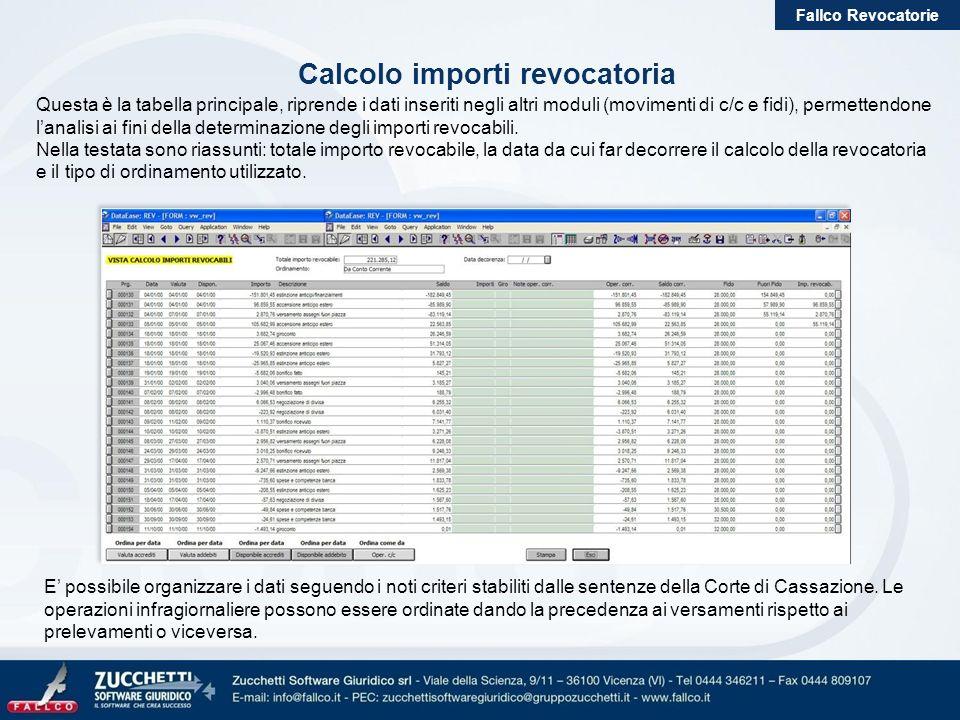 Fallco Revocatorie Calcolo importi revocatoria Questa è la tabella principale, riprende i dati inseriti negli altri moduli (movimenti di c/c e fidi),