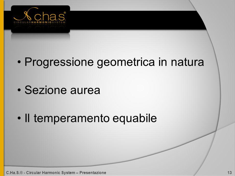 Progressione geometrica in natura Sezione aurea Il temperamento equabile C.Ha.S.® - Circular Harmonic System – Presentazione 13