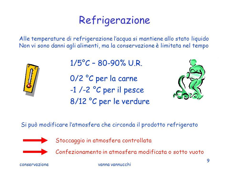 conservazionevanna vannucchi 9 Refrigerazione Alle temperature di refrigerazione lacqua si mantiene allo stato liquido Non vi sono danni agli alimenti