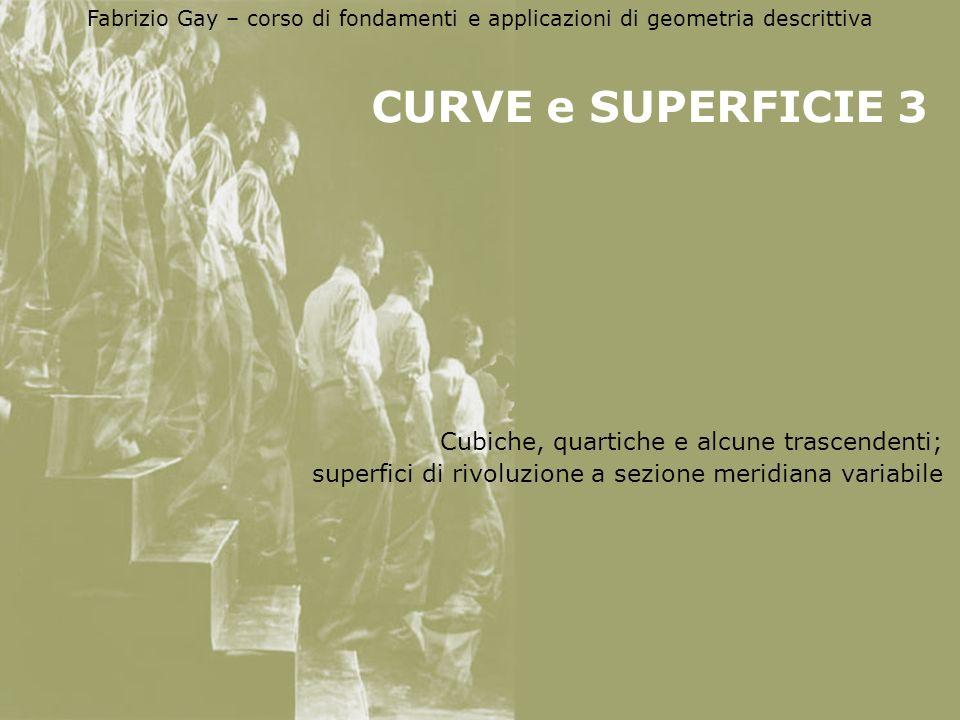 Fabrizio Gay – corso di fondamenti e applicazioni di geometria descrittiva CURVE e SUPERFICIE 3 Cubiche, quartiche e alcune trascendenti; superfici di