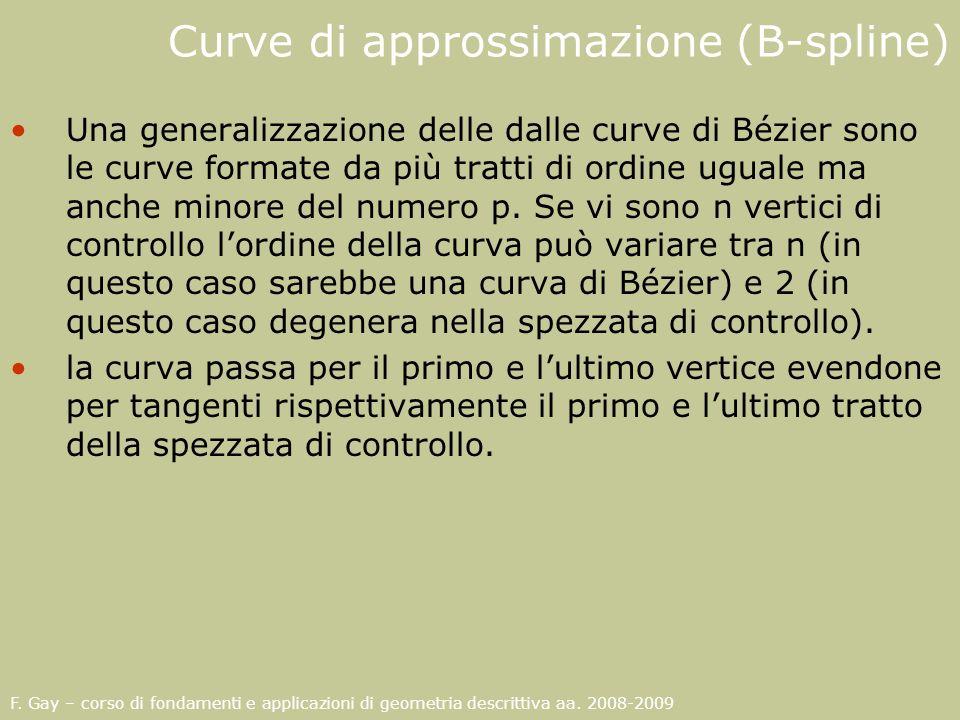 F. Gay – corso di fondamenti e applicazioni di geometria descrittiva aa. 2008-2009 Curve di approssimazione (B-spline) Una generalizzazione delle dall