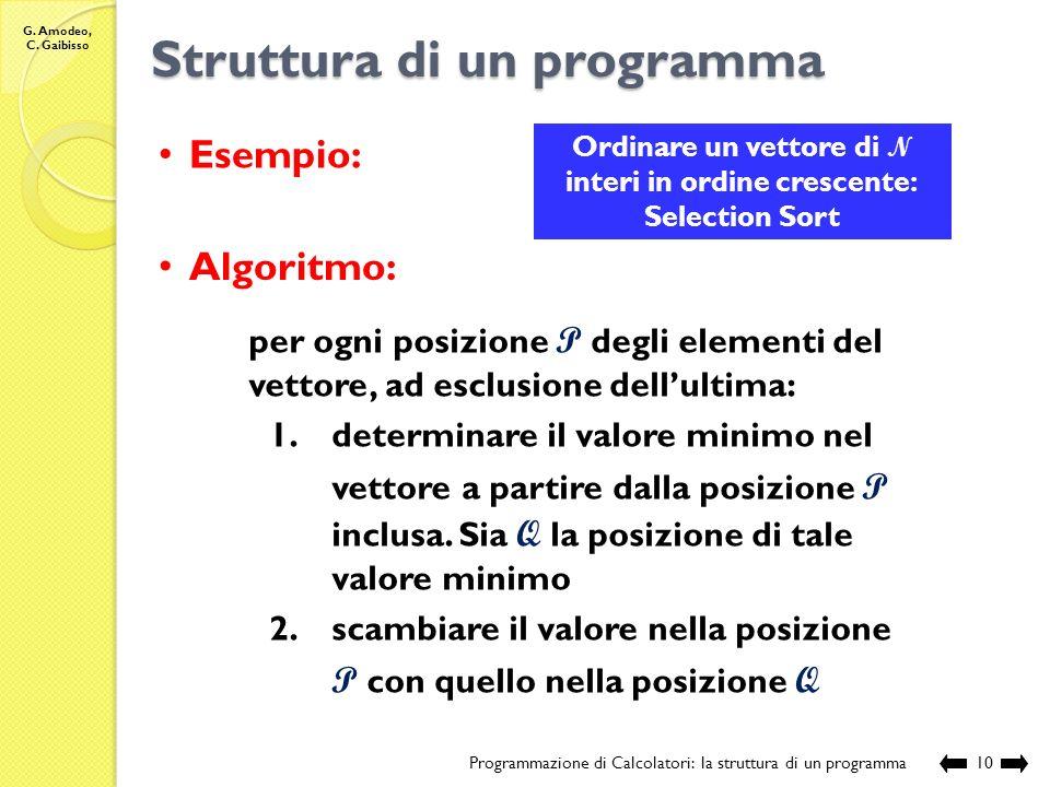 G. Amodeo, C. Gaibisso Struttura di un programma Programmazione di Calcolatori: la struttura di un programma9 Proposta: Infine, includere in testa ad