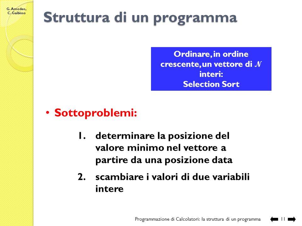 G. Amodeo, C. Gaibisso Struttura di un programma Programmazione di Calcolatori: la struttura di un programma10 Ordinare un vettore di N interi in ordi