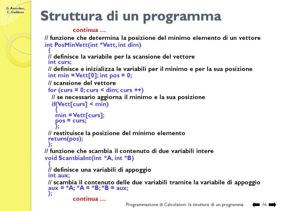 G. Amodeo, C. Gaibisso Struttura di un programma Programmazione di Calcolatori: la struttura di un programma15 // sorgente: EsProposti\Lezione_XV\Eser