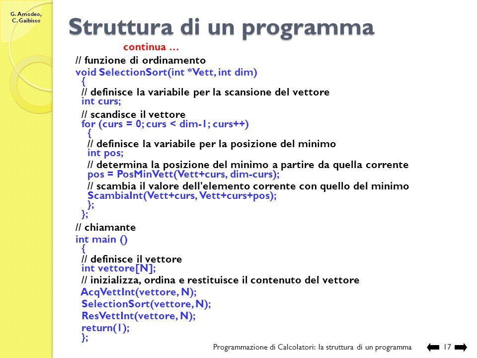 G. Amodeo, C. Gaibisso Struttura di un programma Programmazione di Calcolatori: la struttura di un programma16 continua … // funzione che determina la