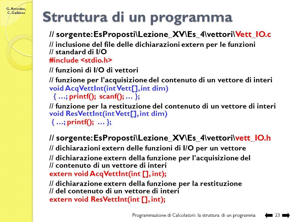 G. Amodeo, C. Gaibisso Struttura di un programma Programmazione di Calcolatori: la struttura di un programma22 // sorgente: EsProposti\Lezione_XV\Es_4
