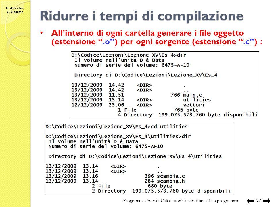 G. Amodeo, C. Gaibisso Struttura di un programma Programmazione di Calcolatori: la struttura di un programma26 // sorgente: EsProposti\Lezione_XV\Es_4