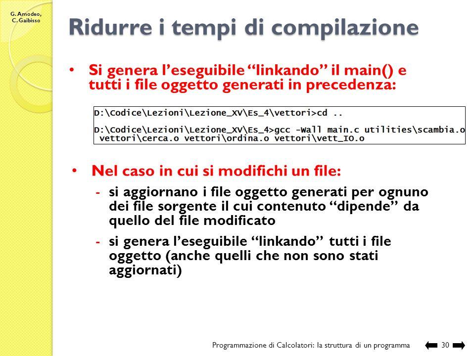 G. Amodeo, C. Gaibisso Ridurre i tempi di compilazione Programmazione di Calcolatori: la struttura di un programma29