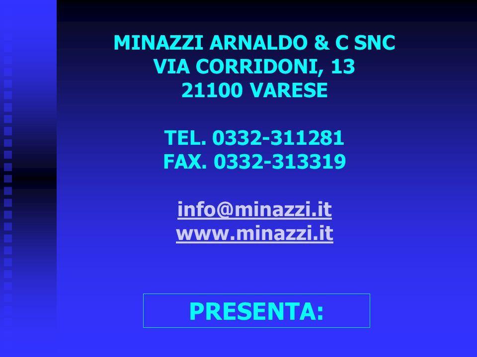 MINAZZI ARNALDO & C SNC VIA CORRIDONI, 13 21100 VARESE TEL. 0332-311281 FAX. 0332-313319 info@minazzi.it www.minazzi.it PRESENTA: