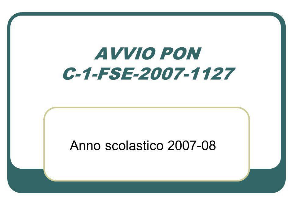 AVVIO PON C-1-FSE-2007-1127 Anno scolastico 2007-08