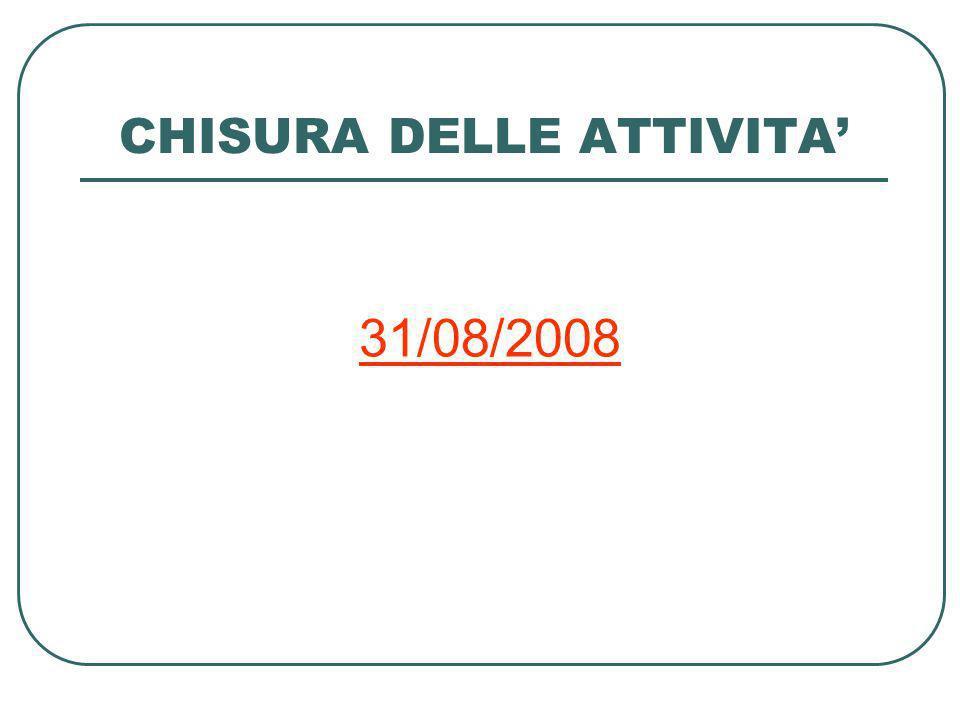 CHISURA DELLE ATTIVITA 31/08/2008