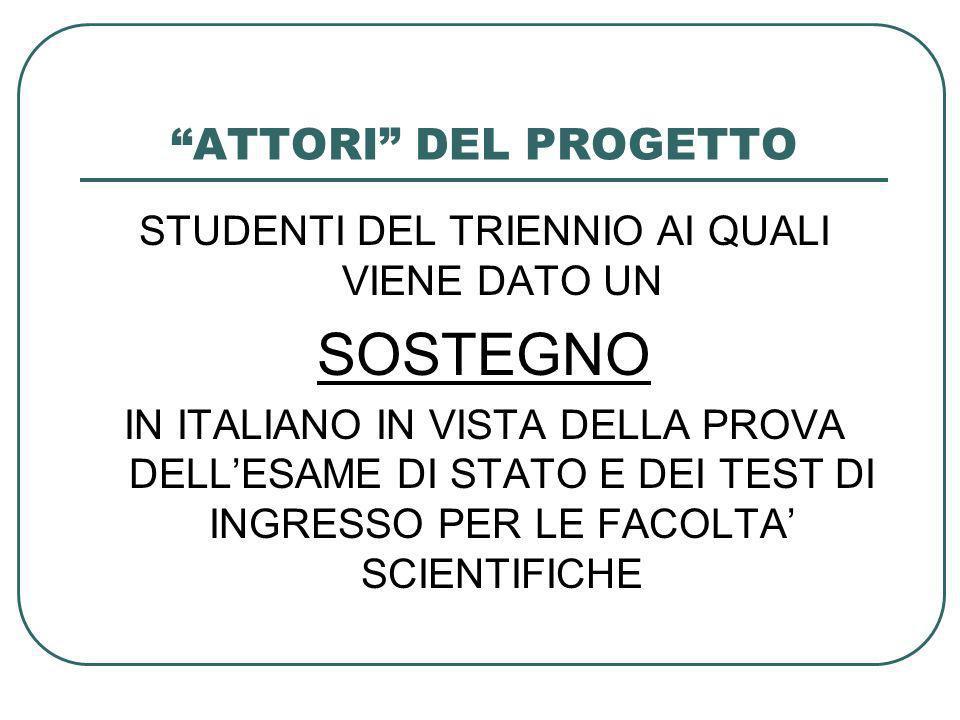 ATTORI DEL PROGETTO STUDENTI DEL TRIENNIO AI QUALI VIENE DATO UN SOSTEGNO IN ITALIANO IN VISTA DELLA PROVA DELLESAME DI STATO E DEI TEST DI INGRESSO PER LE FACOLTA SCIENTIFICHE