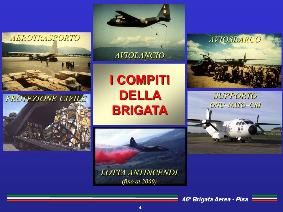 46ª Brigata Aerea - Pisa 4 I COMPITI DELLA BRIGATA AEROTRASPORTO AVIOLANCIO AVIOSBARCO LOTTA ANTINCENDI (fino al 2000) SUPPORTOONU–NATO–CRI PROTEZIONE CIVILE