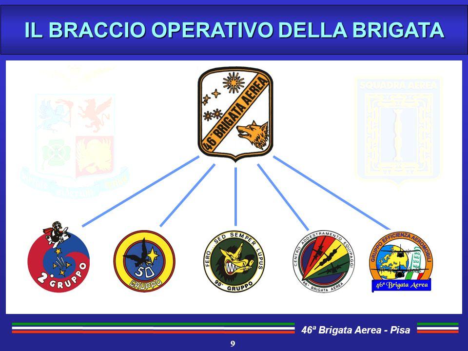 46ª Brigata Aerea - Pisa Gli equipaggi della Brigata si addestrano per poter operare in vari teatri ed effettuare missioni di: AEROTRASPORTO AD ALTA E MEDIA QUOTA AEROTRASPORTO AD ALTA E MEDIA QUOTA RICERCA E SOCCORSO (SAR) PER LE AREE OCEANICHE RICERCA E SOCCORSO (SAR) PER LE AREE OCEANICHE AVIOLANCIO DI PERSONALE E MATERIALI AVIOLANCIO DI PERSONALE E MATERIALI VOLO B.Q.