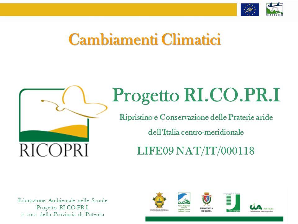 Educazione Ambientale nelle Scuole Progetto RI.CO.PR.I. a cura della Provincia di Potenza Cambiamenti Climatici Progetto RI.CO.PR.I Ripristino e Conse