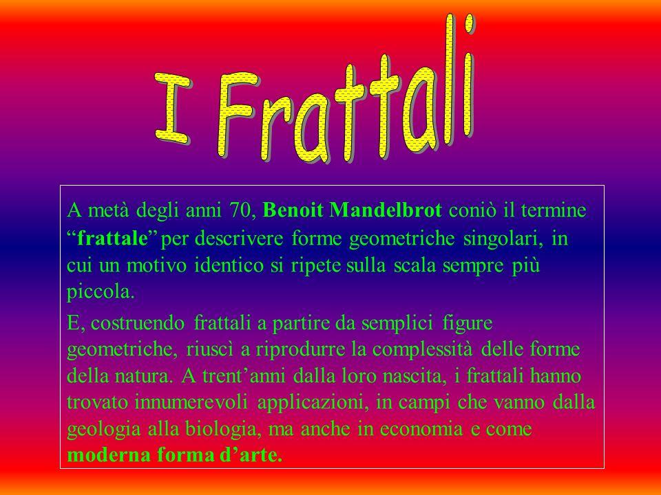 A metà degli anni 70, Benoit Mandelbrot coniò il termine frattale per descrivere forme geometriche singolari, in cui un motivo identico si ripete sull